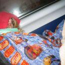 Ira sleeping on the lokal train...destination Luxor-Kairo that took 13 hours