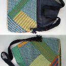 torba za knjige (z volno vezeno na stramin, trak je narejen s tehniko makrameja)