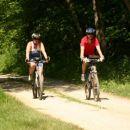 Na kolesarjenju čez Brkine junija 2005. Po 12km vzponov se je prilegla ravnina skozi gozd.