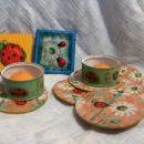 pomarančka za pepi2 - podstavki za kozarce, 2 čajni lučki in ulitek -magnetek (mala slika)