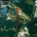 Takole je Miranov GPS označil naš vzpon na Mavrinc in spust z njega