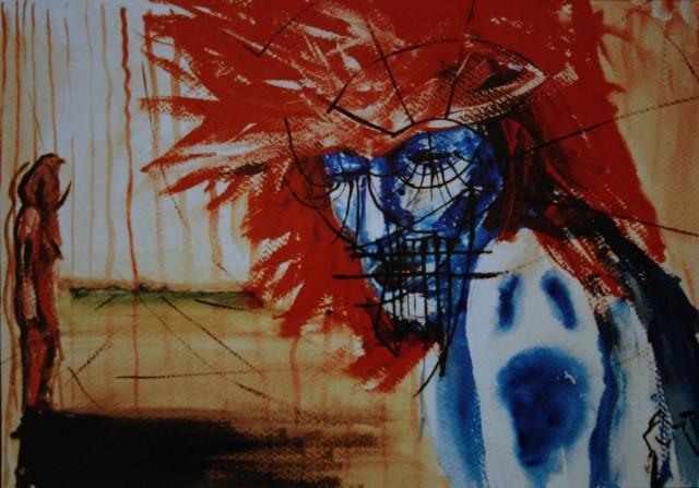 ČONČ, akril na papir, 66.5x56.5, 2002