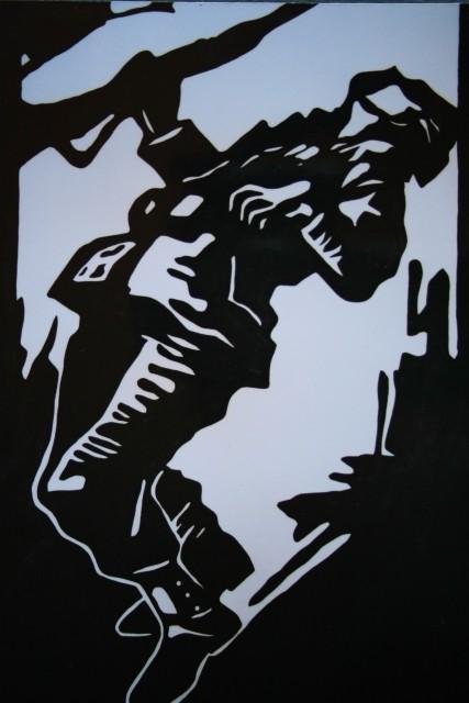 BOREC 1, akril na papir, 80.5x111, 2004