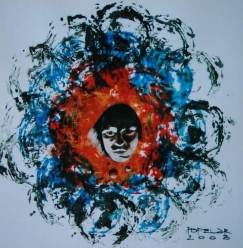 BOG ŠAMANOV, akril na papir, 51x51, 2003