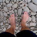 gladki kamni kot bi hodil po ploščicah