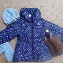 H&M pikasta modra bunda, rokavice in kapa, škornji F&F