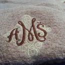 Komplet vezenih brisačk svetlo rjava