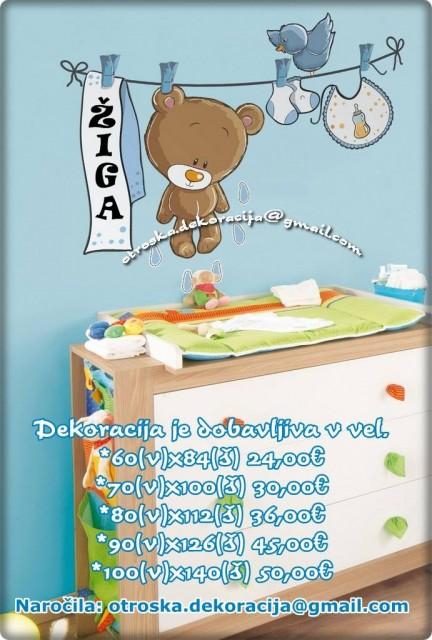 Otroške stenske nalepke , otroška dekoracija, nalepke za otroke medvedek