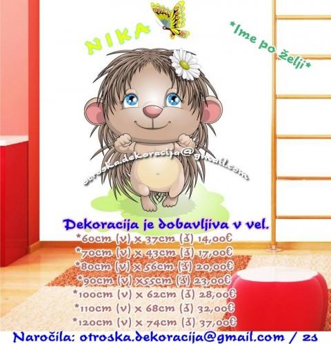 Otroške stenske nalepke , otroška dekoracija, nalepke za otroke ježek