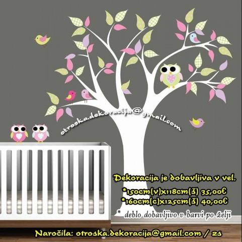 Otroške stenske nalepke , otroška dekoracija, nalepke za otroke drevo s sovicami