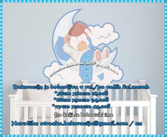 Otroške stenske nalepke , otroška dekoracija, nalepke za otroke medvedek na lunici