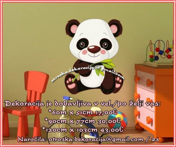 Otroške stenske nalepke , otroška dekoracija, nalepke za otroke panda