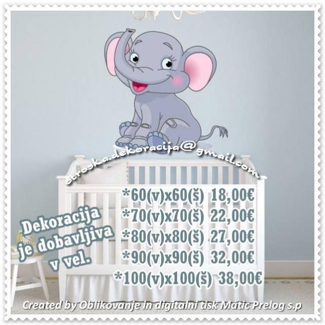 Otroške stenske nalepke , otroška dekoracija, nalepke za otroke slonček