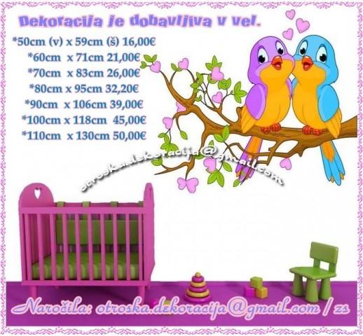 Otroške stenske nalepke , otroška dekoracija, nalepke za otroke ptička na vejici