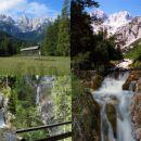 Panorama Gozd Martuljek + Martuljek s Spodnjim slapom in izvirom Martuljka