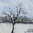 Osamelec v snegu, TEMPERA,29X41 cm