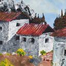 Primorska vasica, TEMPERA,29X41cm