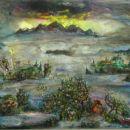 Brez naslova (vrhovi), 2002, 100x120 cm - akril, olje na platnu