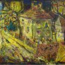 Brez naslova (Hiša z mačko), 2004, 60x70 cm - akril, olje na platnu