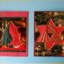 BOzično novoletni voščilnici irir folding na podlagi od starih poslanih razglednic :)