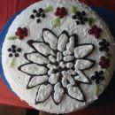 Torta za Damjanov 30. r.d.;pudingova krema z borovnicami in malinami;planika oblikovana na